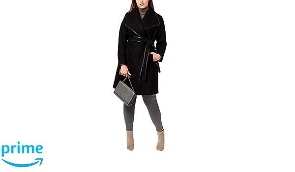 b43d65bd7458c Amazon.com  DKNY Plus Size Faux-Leather-Trim Wrap Coat XS  Clothing
