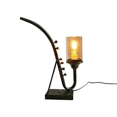 Glass Iron Table Lamps American Retro Desk Lamps Bedroom Lamps Café Smokers (Manual Smoker)