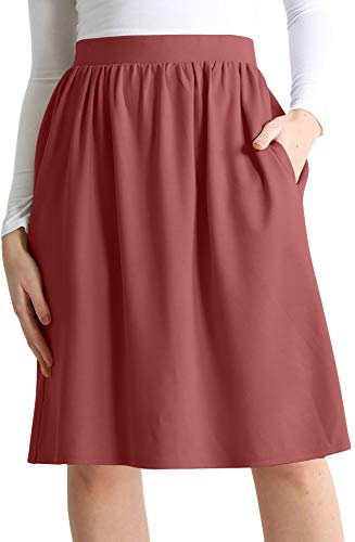 Womens Knee Length Flare A-Line Skirt with Side Pockets - Made in USA (Size X-Large US 10-12, Marsala)