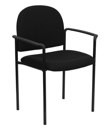 Offex OF-BT-516-1-BK-GG Black Fabric Comfortable Stackable Steel Side Chair with Arms -