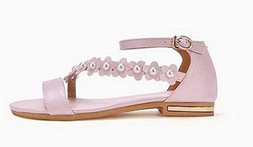 Open Heels Toe Low CCALO015405 VogueZone009 Women Solid Sandals Pink Buckle EwZqwgS