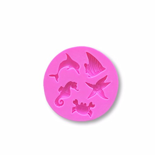SMALL Sea Animals With Seahorse and Shells Silicone Mold (Starfish, Dolphin, Fish) - Custom Molds from Bakell by Bakell