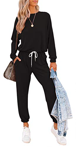 ETCYY Women's Two Piece Outfits Sweatsuit Set Long Pant Pajamas Lounge Set Workout Athletic Tracksuit Jumpsuits Romper