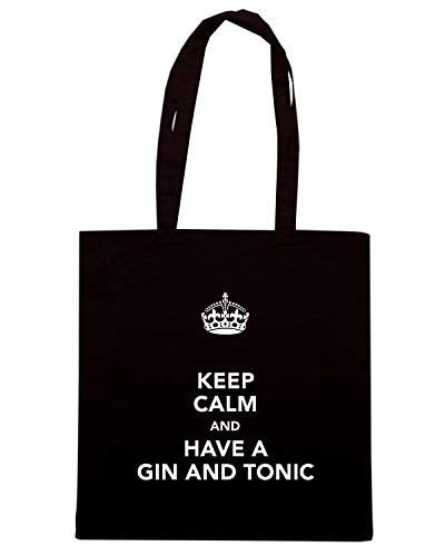 Speed Shirt Borsa Shopper Nera TKC0145 KEEP CALM AND HAVE A GIN AND TONIC