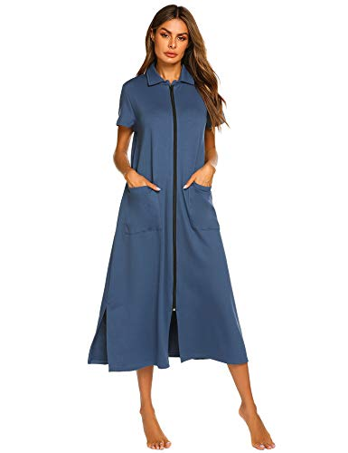 - Ekouaer Women Sleepwear Zip-Front Short Sleeve Loungewear Polo Sweatshirt Cotton Hoodie Nightgown with Pocket Navy