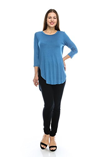 Nelly Plus Size 3/4 Sleeve Cute Casual Fashion Tunic Flowy Denim Blue Top Round Neck w/Shirt Tail Hemline Side Slit - Made In USA - 2017/2018 Collection - - In Online Shopping Usa