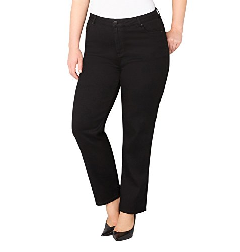 -AVENUE Women's Butter Denim Straight Leg Jean in Black 28-32, 32 Black Rinse