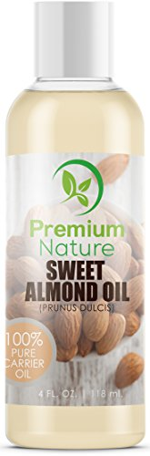 Sweet Almond Oil Carrier Oil - Cold Pressed Pure Natural Body Massage Oils for Essential Oils Mixing, Baby Oil Dry Skin Face Moisturizer Eye Makeup Remover Healthy Nails Packaging May Vary 4 oz