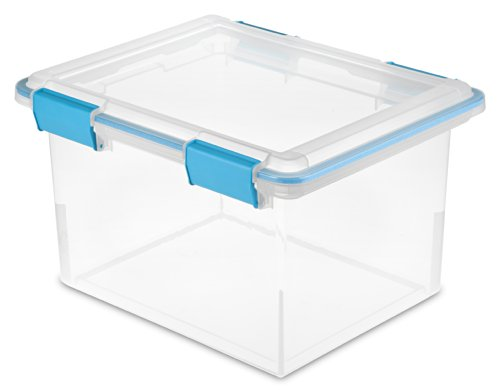 Sterilite 19334304 32 Quart/30 Liter Gasket Box, Clear with Blue Aquarium Latches and Gasket, 4-Pack