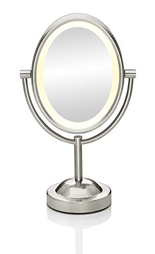 Conair Oval Shaped Double-Sided Lighted Makeup Mirror, 1x/7x magnification, Satin Nickel Finish