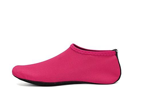 WQINSHOE Kids Mens Womens Barefoot Water Skin Aqua Shoes Durable Anti-Slip Aqua Socks For Beach Pool Swim Yoga Water Aerobics Hot Pink bN78nho0