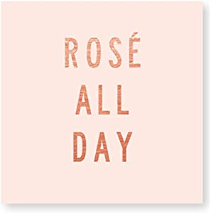"X&O Paper Goods Pink ""Rosé All Day"" Beverage and Cocktail Napkins, 20pc, 5"" W x 5"" L"