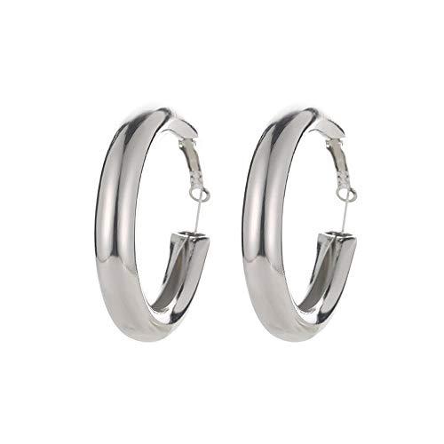 LODDD Punk Rock Minimalist Style Earrings 50mm Thick Tube Gold Alloy Wild Models Round Circle Hoop Big Earrings ()