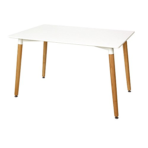 Yontree Kitchen Rectangles Dining Table Leisure Wooden Tea & Coffee Table White 47.2x31.5x29.5In. by Yontree