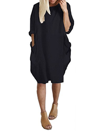 Kidsform Women's Tunic Dress Long Sleeve Oversize Baggy T Shirt Causal Loose Party Short Midi Dresses with Pockets Black M