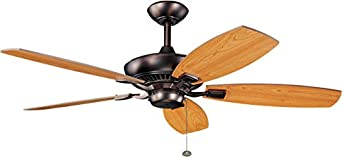 Kichler 300117OBB Canfield 52-Inch Ceiling Fan with Reversible Cherry Walnut Blade, Oil Brushed Bronze