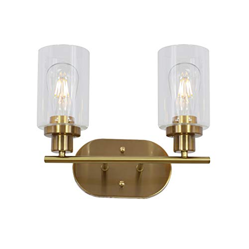 VINLUZ 2 Light Classic Wall Sconce Brushed Brass Bathroom Vanity Light Fixture with Clear Glass Shade