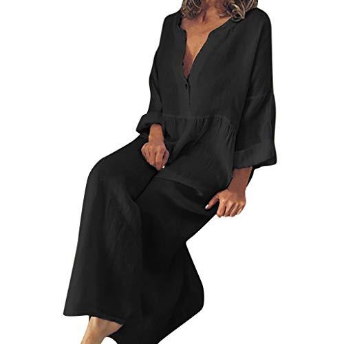 iBOXO Women's Summer Cotton Dress V-Neck Button Casual Bohemian Beach Ankle-Length Long Dress(Black,XXXXXL)