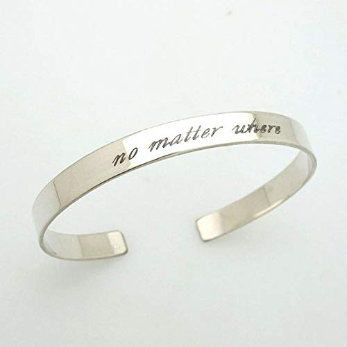 c60a12860d8 Amazon.com: Personalised Silver Message Cuff Bangle - Slim Cuff Bracelet, Sterling  Silver Bracelet, Sister Birthday, Friend Gift, Inspirational Jewelry: ...