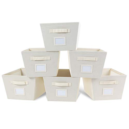 - MAX Houser Storage Bins Cubes Baskets Containers with Dual Handles for Home Closet Bedroom Drawers Organizers, Foldable, Set of 6 (Beige)