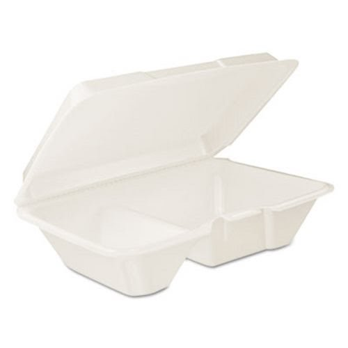 Dart 205HT2 White Foam 2 Compartment Containers w/Hinged Lid (205HT2DART) Category: Foam Food Containers