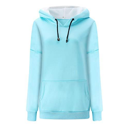 QBQCBB Women Casual Solid Full Sleeve Hoodies Slim Fit Sweatshirts Stand-Neck Colour Stitching Blouse Coats Jackets (Blue,XL) (Acrylic Blend Knitwear)