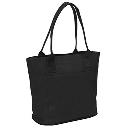 Piel Leather Small Tote Bag, Black, One (Leather Small Top Zip)