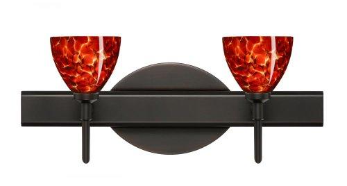 Besa Lighting 2SW-185841-BR 2X40W G9 Divi Wall Sconce with Garnet Glass, Bronze Finish