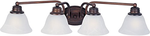 Maxim 2689MROI Malaga 4-Light Bath Vanity, Oil Rubbed Bronze Finish, Marble Glass, MB Incandescent Incandescent Bulb , 15W Max., Damp Safety Rating, 3000K Color Temp, Opal Acrylic Shade Material, 950 Rated Lumens