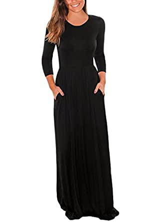 Leindr Women's Casual 3 4 Sleeve Round Neck Jersey Dress Pleated Floor Length Plain Long Maxi Tunic Dress with Pockets Black S 4 6