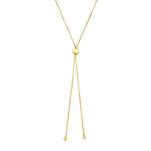 14kt 24'' Yellow Gold Shiny 1mm Snake Chain Lariat Type Necklace with 7mm Heart Element+Draw String Clasp by BH 5 Star Jewelry