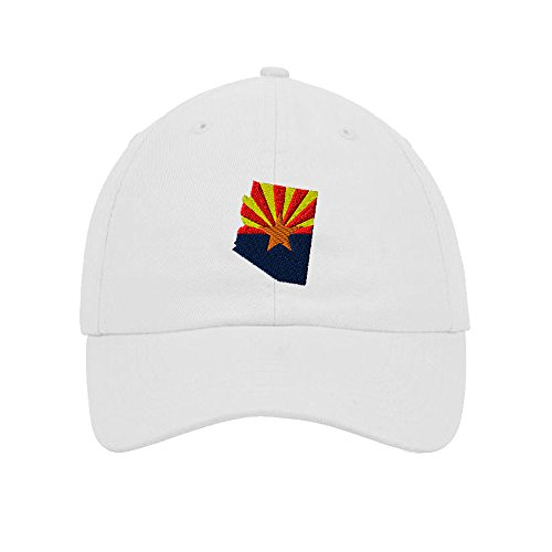 Arizona White Sport Hat (Speedy Pros Cotton 6 Panel Low Profile Hat Arizona Flag State Embroidery White)