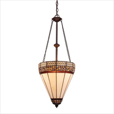 Landmark Pendants Landmark Lighting - Landmark Lighting 70077-3, Stone Filigree 3-Light Pendant in Burnished Copper