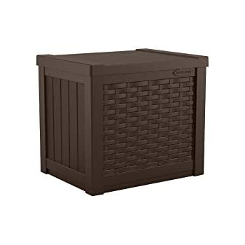 Suncast 22-Gallon Small Deck Box - Lightweight Resin Indoor/Outdoor Storage Container and Seat for Patio Cushions and Gardening Tools - Store Items on Patio, Garage, Yard - Java Brown