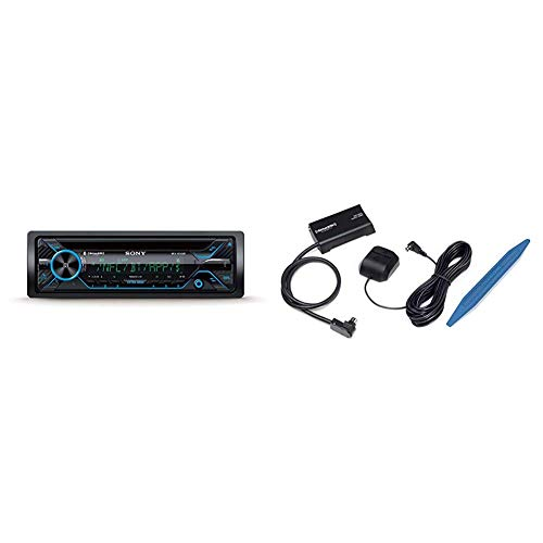 Sony MEX-XB120BT Single DIN Hi-Power Bluetooth In-Dash CD AM FM SiriusXM Ready Car Stereo SXV300AZV1 Connect Vehicle Tuner Kit for Satellite Radio with Installation Tool