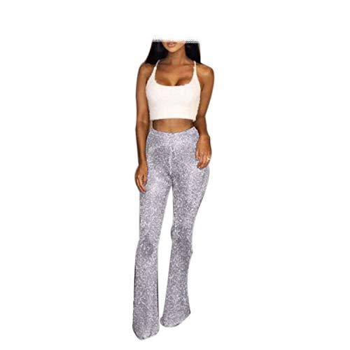 (Women Flare Pants High Waist Wide Leg Pants Party Club Wear Elastic Waist Long Trousers Bell Bottom,Silver,L)