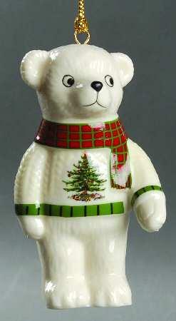 Amazon.com: Spode Christmas Tree Ornament Teddy Bear: Decorative ...