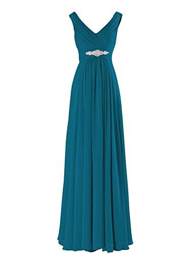 WeiYin Women's Chiffon V-Neck Long Prom Dresses Bridesmaid Dresses Teal US 4