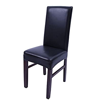 Dining Chair Covers, My Decor Solid Pu Leather Waterproof Stretch Dining Chair Protctor Cover Slipcover