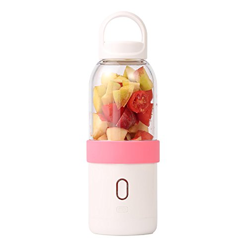 Juicer Cup-Great Paragon-Electric Portable Fruit Blender-USB Rechargeable, Personal Size Fruit Mixer With 6 304 Stainless Steel Blades For Office/Home/ Outdoors/Traveling/Sporting -19oz/550ml (PINK)