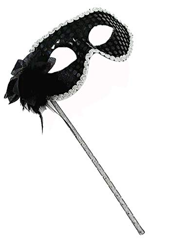Woman's Christmas Halloween Black Purple Red White Sequin with Flower Plastic Masquerade Mask on Stick (Black) (Masks A Stick White Masquerade On)