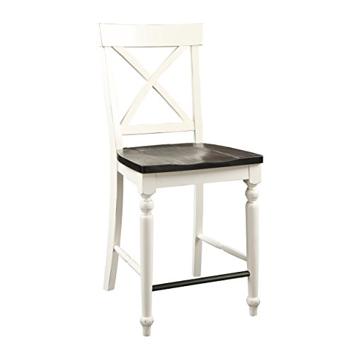 Emerald Home Mountain Retreat Antique White and Dark Mocha 24'' Bar Stool with All Wood Frame, X Back, And Contrasting Seat, Set of Two by Emerald Home Furnishings