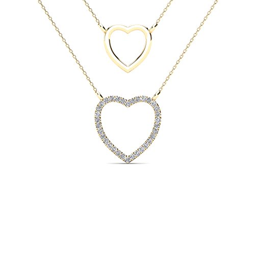JewelAngel Women's 10k Yellow Gold Diamond Accent Double Strand Heart Necklace (H-I, I1-I2)