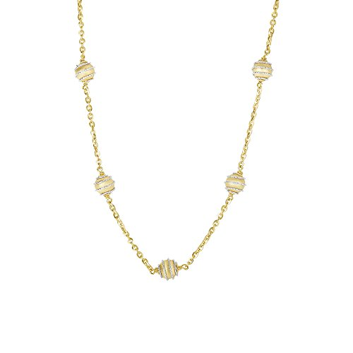 Finejewelers 14 Kt Two Tone Gold 18 Inch 6.9-1.8mm 5 Satin Swirl Ball On 1.8mm Oval Link Type Necklace