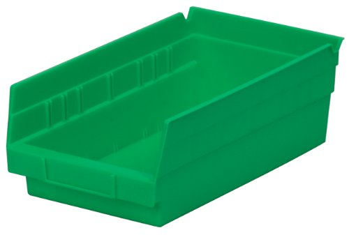Akro-Mils 30130 12-Inch by 6-Inch by 4-Inch Plastic Nesting Shelf Bin Box, Green, Case of 12 ()