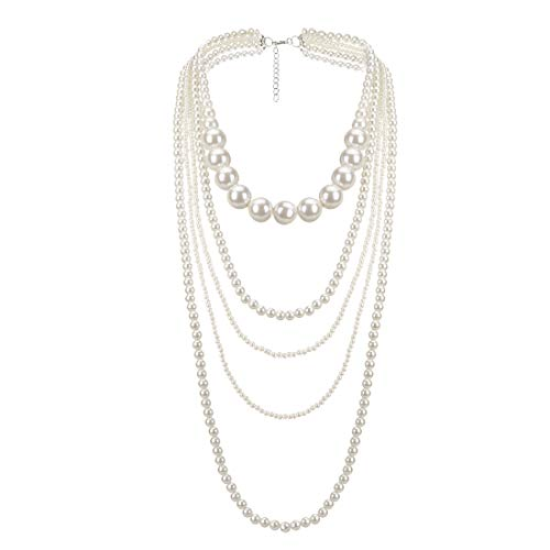 - Jerollin Fashion Simulated Pearls Resin Multi Strand 3 Layer Bib Statement Collar Evening Necklace