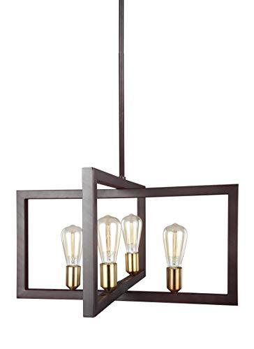 Feiss F3145/4NWB Finnegan Urban Lantern Pendant Lighting, Bronze, 4-Light (24