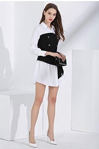 Superior Costura Manga De Tubo Temperamento Vestir Moda Otoño Regalo La Larga Botón Vestido Camisa Nouler CzwxPP
