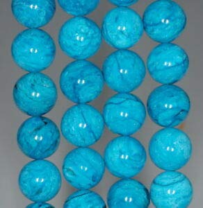 Jasper Beads Pendant Necklace (10MM Turquoise Blue Jasper Gemstone Round Loose Beads 7.5