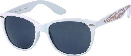 Subke 4026 Lunettes de soleil modèle Nerd - Blanc - weißer Rahmen, schwarze Gläser - taille unique
